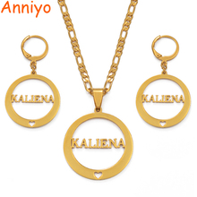 Anniyo KALIENA Letter Pendant Necklaces Earrings sets for Women Gold Color Jewelry Gifts (CAN NOT CUSTOMIZE THE NAME) #035921