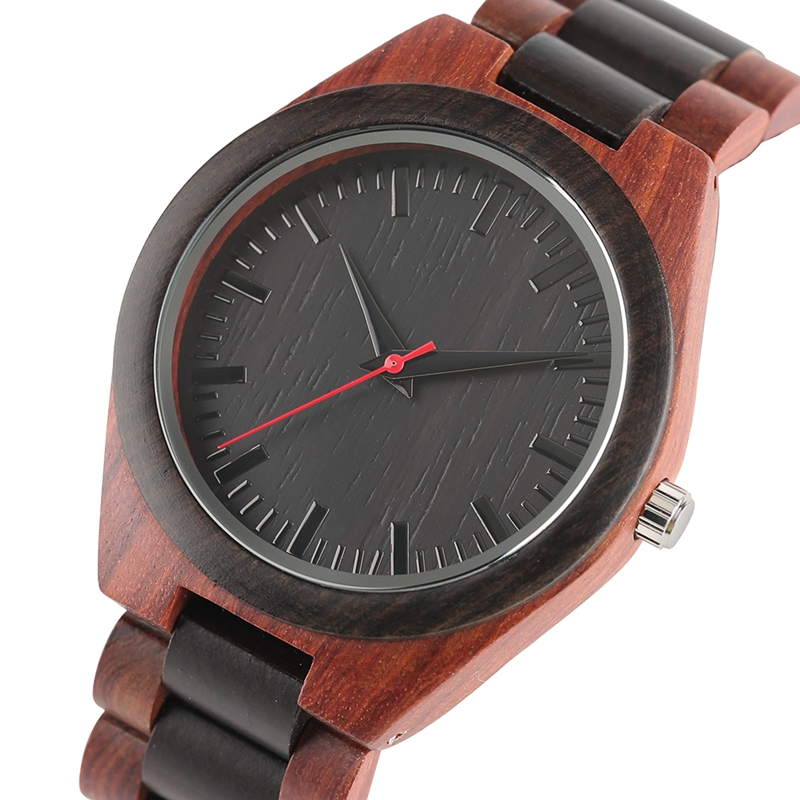 YISUYA Men's Ebony Wooden Watch Wood Strap Quartz Analog Creative Wristwatch Simple Nature Bamboo Male Watches Clock saat (3)