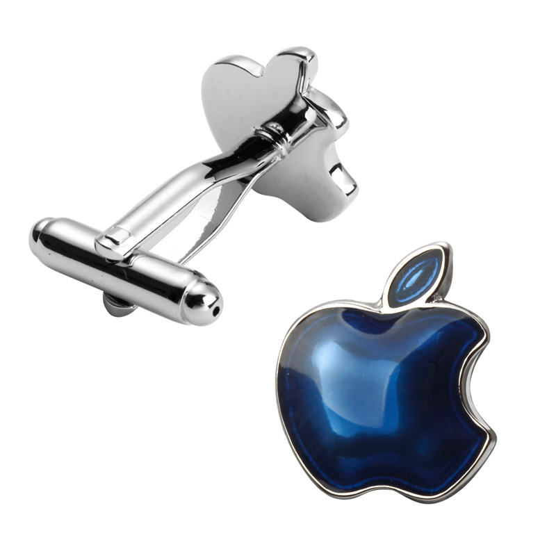 Man fine jewelry fruit sign blue apple cufflinks French fashion shirt sleeve cuff links 3 pair pack wholesale sale