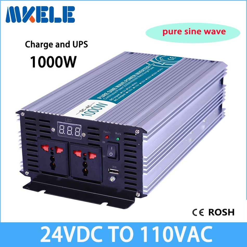 MKP1000-241-C 1000w dc24v to 110vac inverter off grid Pure Sine Wave solar inverter voltage converter with charger