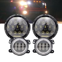 DOT Approved 2PCS 7Inch Led Round Headlights Hi Lo Beam DRL Black Projector Lamps Pair 4Inch