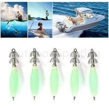5pcs/lot Fluorescent Luminous Squid Hook Fishing Lures Squid Bait Jig Lures With Hooks 9.5cm /14g