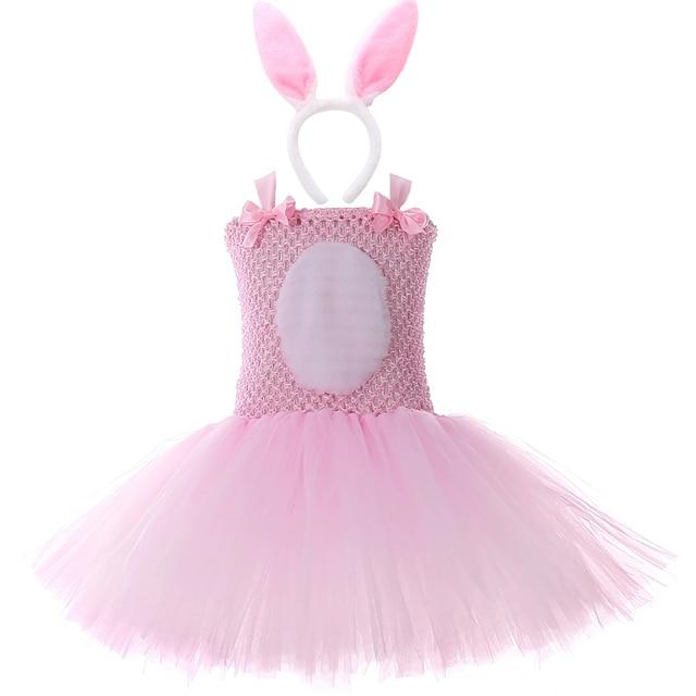 الوردي الأرنب الأرنب توتو فستان مع عقال الذيل بنات عيد ميلاد ملابس الاطفال عيد الفصح هالوين ازياء للبنات ملابس للحفلات