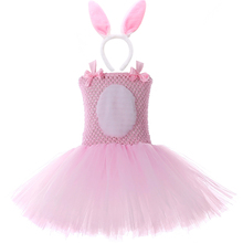 Pink Bunny Rabbit Tutu Dress with Headband Tail Girls Birthday Outfits Kids Easter Halloween Costumes for Girls Party Clothes