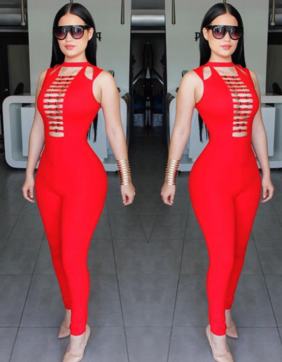 wholesale new Jumpsuits Black and red V-neck tight Leisure Sexy woman bandage Rompers (H ...