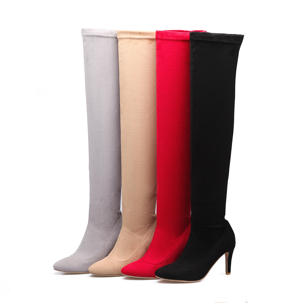 Aiweiyi Talon Le Apricot noir Pour Sur Mince Cuissardes Genou Bottes Femmes Hiver gris Chaussures rouge Automne Zip Boot Mode Femme fyY76gb