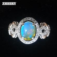 Anillo de Ópalo de fuego Natural Genuino esterlina del sólido 925 de plata mujer gem stone anillos chapados en Oro de joyería fina