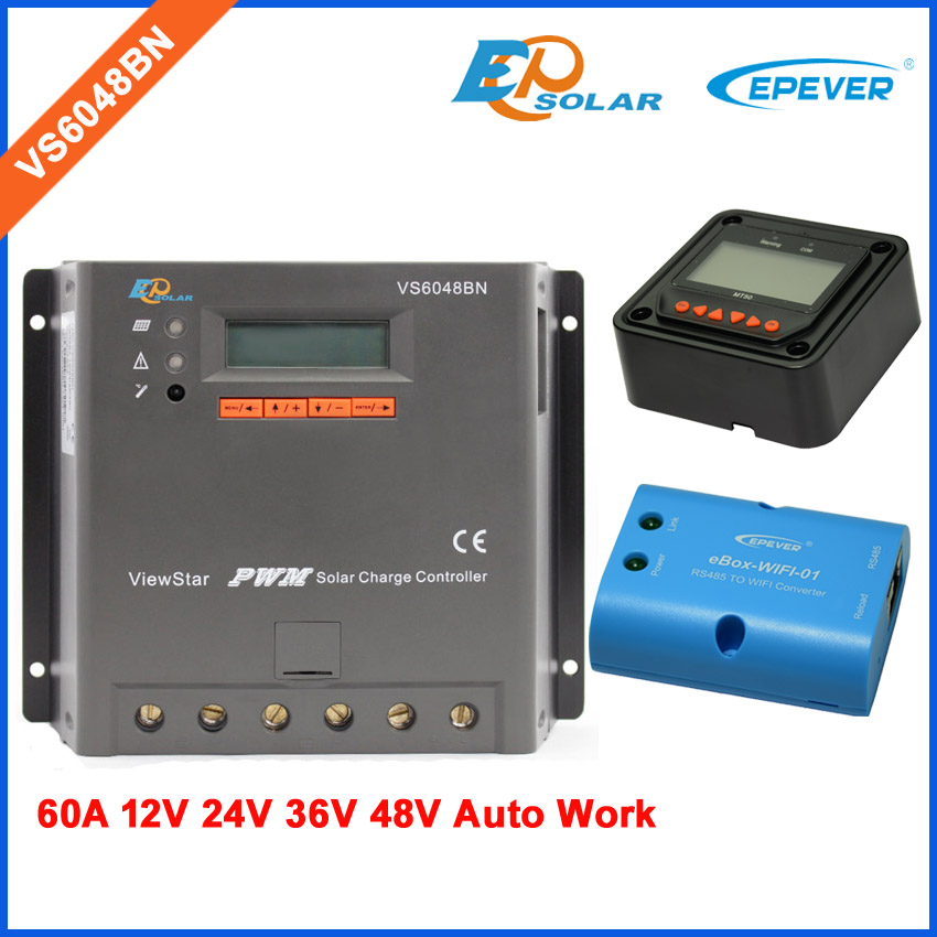 Charger 12v 24v 36v 48v auto work solar controller EPEVER factory supply VS6048BN 60A 60amp wifi BOX and meter MT50Charger 12v 24v 36v 48v auto work solar controller EPEVER factory supply VS6048BN 60A 60amp wifi BOX and meter MT50