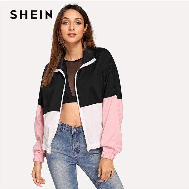 SHEIN Multicolor Elastic Hem Color Block Windbreaker Jacket Women Summer Autumn Long Sleeve Sporting Streetwear Outerwear Coats 2