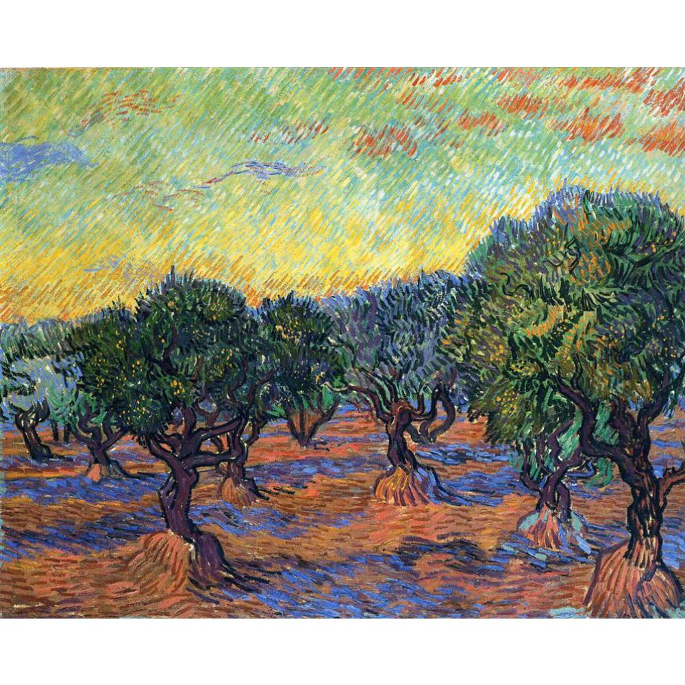 Peinture à l'huile à la main reproduction de Vincent Van Gogh haute qualité oliveraie-Orange ciel salon décor