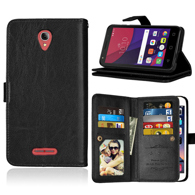 buy popular 2e673 1b3e9 US $8.99 |Luxury 9 Card Slots Leather Wallet Phone Case Flip Stand Cover  For Alcatel Pop 4 Plus 5.5