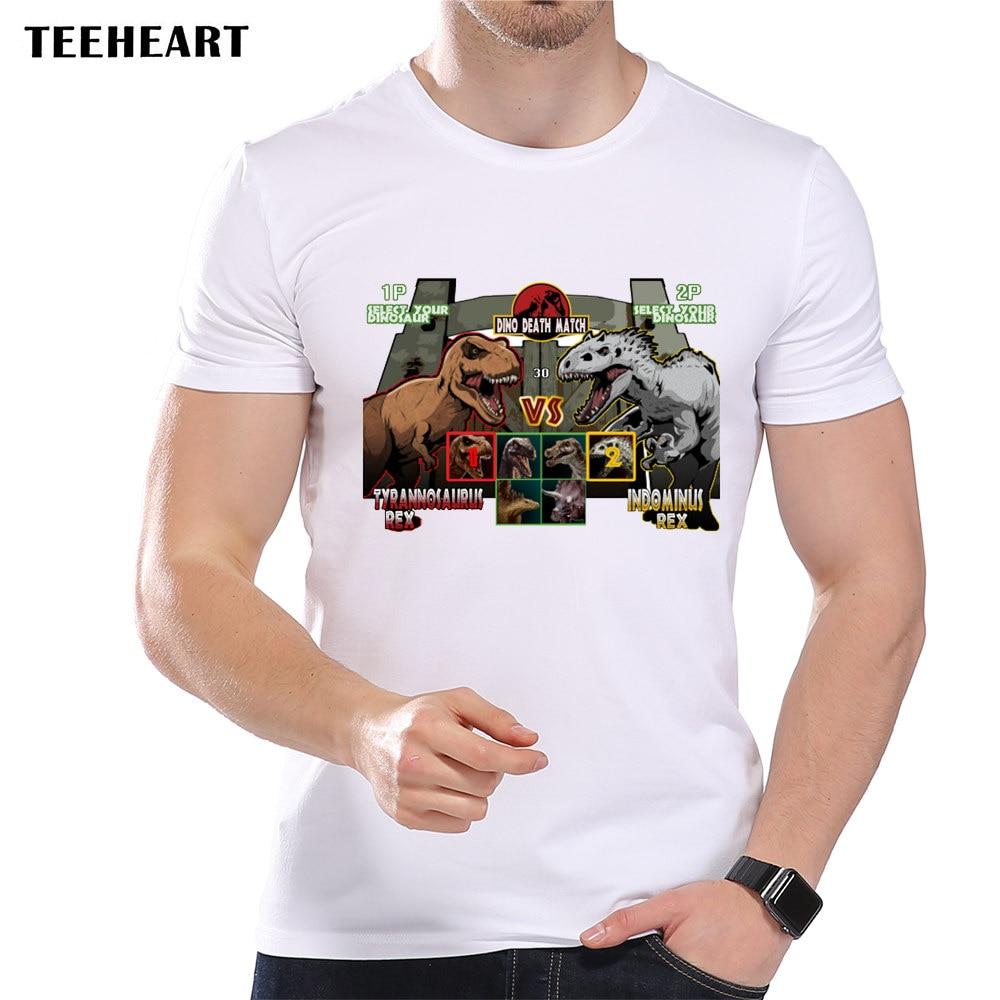 Design t shirt games online - 2017 Summer Men S Dinosaur Fight Video Game Design T Shirt Cool T Rex Tops Short