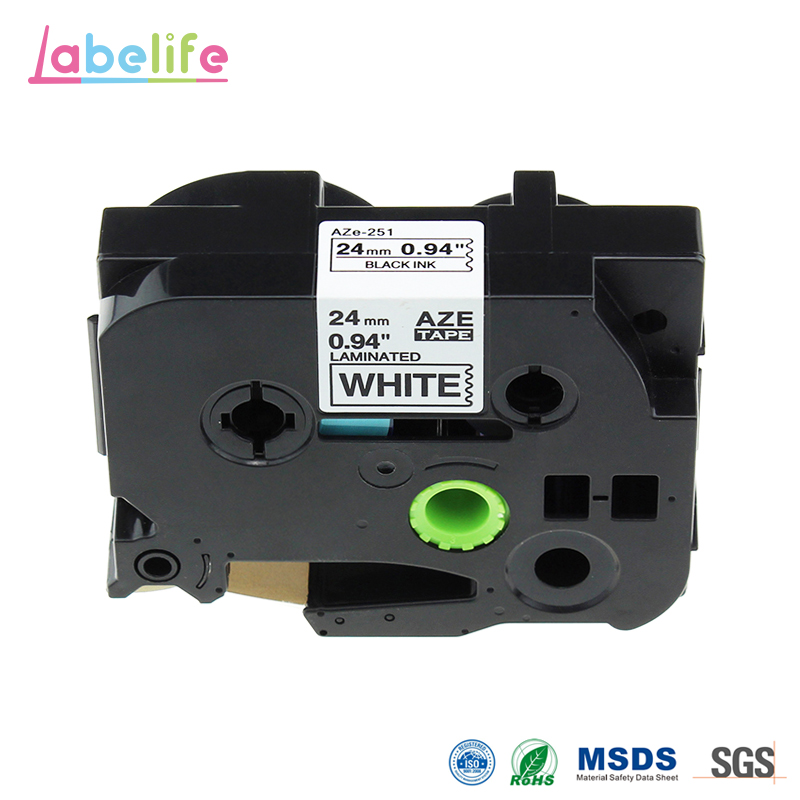 Labelife 1pcs 24mm black on white TZe251 TZ251 TZe-251 TZe 251 compatible with Brother p touch label tape p-touch 7600 cidy 5pcs compatible p touch laminated tze 251 tz251 tze251 tape 24mm black on white tape tze 251 tz 251 for brother printers