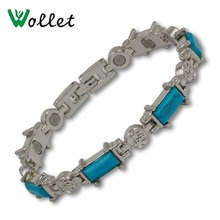 Wollet Jewelry Bio Magnetic Bracelet for Women Blue Resin Stone Health Care Healing Energy Magnet nano bio energy health card and bio energy card pvc plastic anti radiation card supply