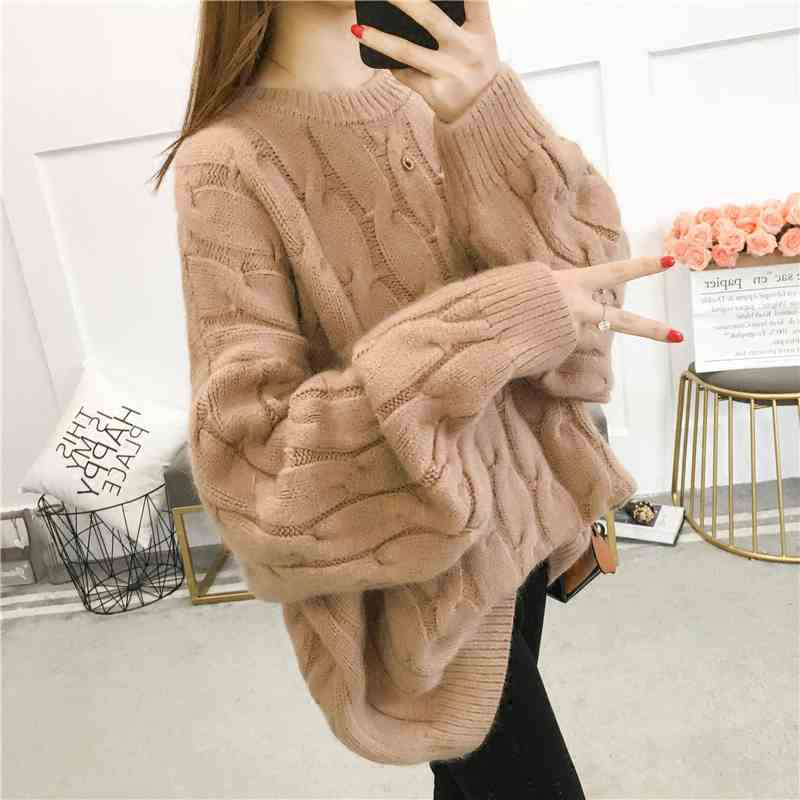 2018 New Autumn Winter Women Cotton Elastic Twist Sweater Lady Knitted Long Sleeve O-neck Thicken Pullovers C120