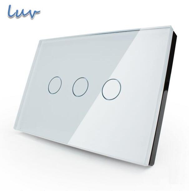 Manufacturer,  Wall Switch VL-C303-81,3-gang 110~250V Smart home, Crystal Glass Panel,US Touch Screen Control Wall Light manufacturer smart home white crystal glass panel us au wall light touch switch 2 gang 1 way power 110 250v with led indicator