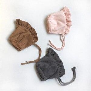 Moda recém-nascido infantil moda veludo chapéu sólido princesa bonés bonito do bebê meninas plissado bonnet outono inverno crianças bonés 3-8 meses