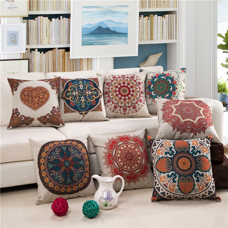 Boho classic style square cushion cover cotton linen ...