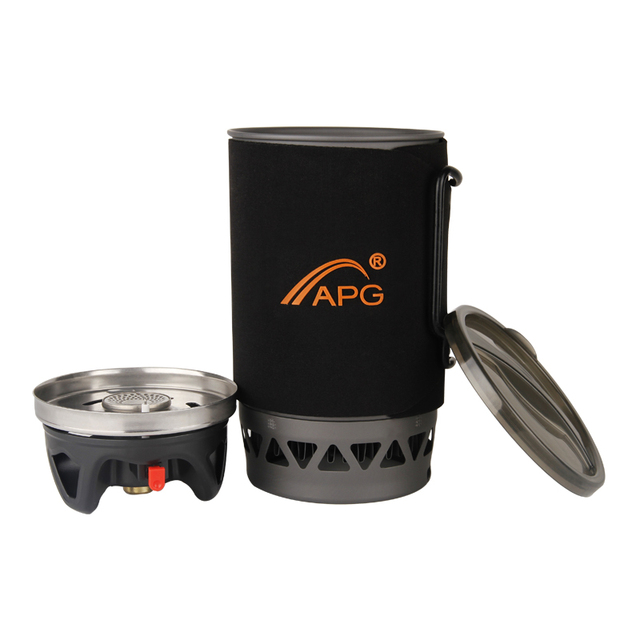 APG Portable 1400ml Cooking System Outdoor Hiking Camping Stove Heat Exchanger Pot Propane Gas Burners 1