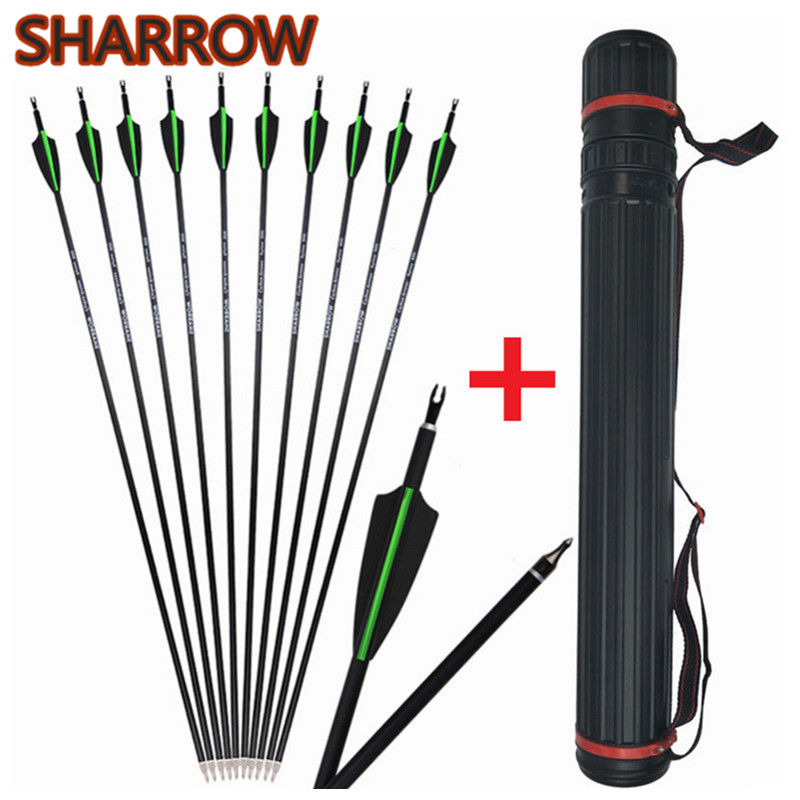 12Pcs 30 Archery Carbon Arrows Spine 500 Replacement Broadhead With Arrow Tube For Outdoor Target Practice