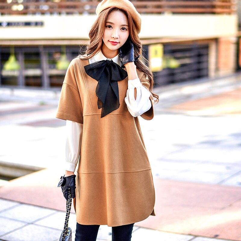 dabuwawa knit dress 2016 new autumn and winter big sizes loose lady casual fashion font b