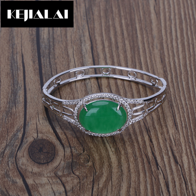 Natural Green Stone Beads Bangle for Women Luxury Style Jewelry Accessory Simple Style Big Bangle Bracelet Gift