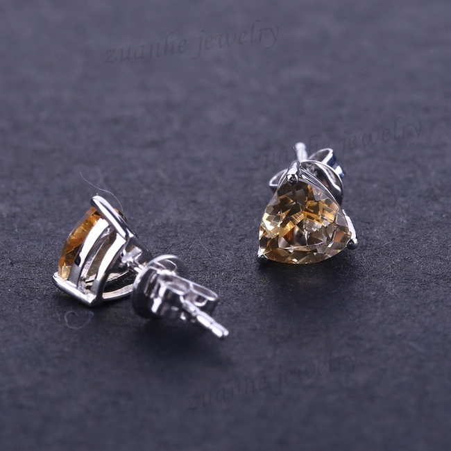 4.5MM Natural Citrine Butterfly Fastening Stud Earrings Sold 14k White Gold Engagement Wedding Earrings For Women angibabe starry pattern gold plated alloy rhinestones stud earrings for women white pair