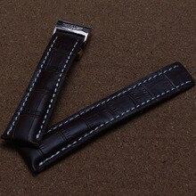 Patrón de Cocodrilo Hebilla de implementación de Cierre Venda de Reloj de Piel de Becerro de Cuero Genuino Correa de Reloj negro marrón azul 22/24mm + HERRAMIENTAS GRATUITAS
