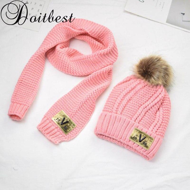 Doitbest 5-15 Years Old Hairball Beanies Sets Velvet Wool Kids Knitted Fur Hats Winter 2 Pcs Boys Girl Scarf Hat Set Child