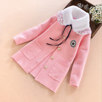 Girls coats 2017 autumn winter princess lapel coat With pocket thick warmer kids Outerwear Lovely Children Clothes 7 8 9 10 13T