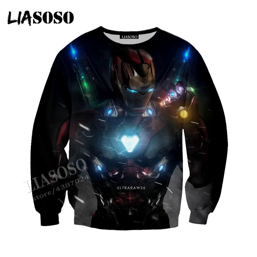 LIASOSO latest Marvel Comics Series 3D Printing Iron Man Unlimited Gemstone Hoodie Men and Women Sweatshirt Series CX163