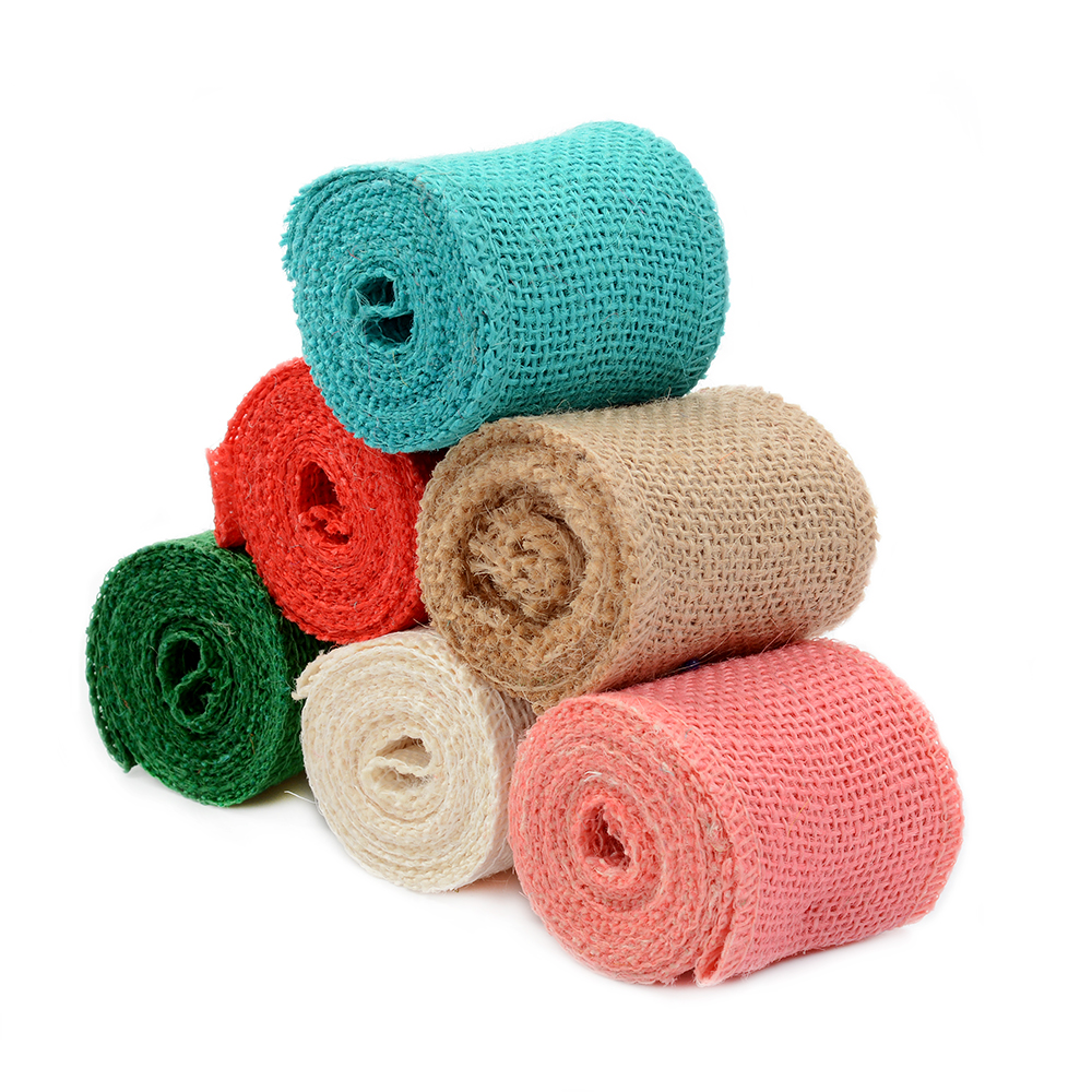 2 Meter 6cm Multicolour Jute Burlap rolls Hessian Ribbon with Trims Tape Wedding party d ...