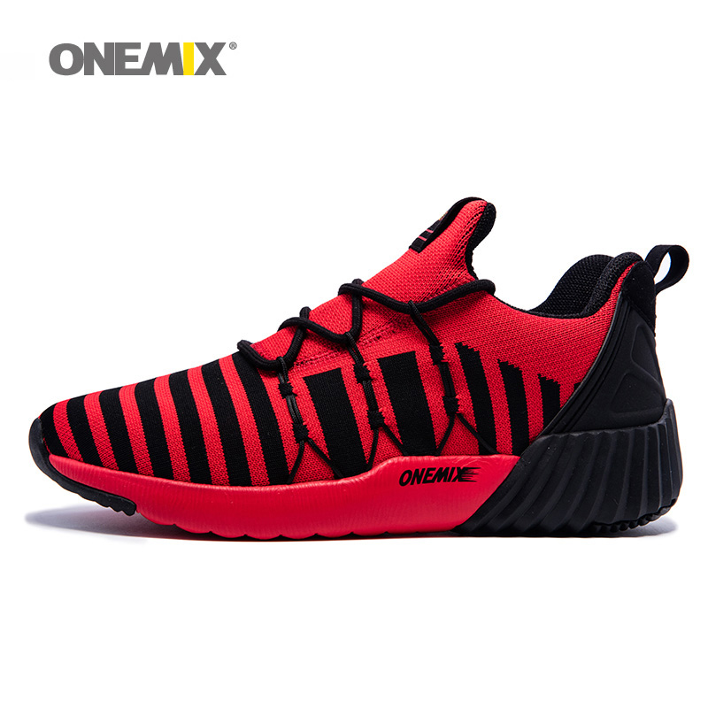 ONEMIX Man Running Shoes for Men Mesh Breathable Trail Walking Sneakers Outdoor Sports Shoes Red Athletic Trainers Footwear 2018