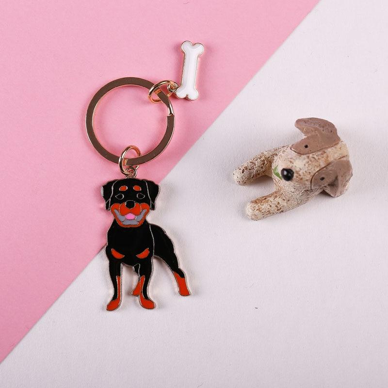 Wholesale Pomeranian PET Metal KeyChains Bone Pendant Luxury Keychain metal Black Dog Key Ring charm gift for man Drop shipping