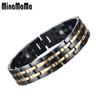 IP Gold Plating Men S Magnet Bracelet Health Pulceras For Men Three Row Stainless Steel Magnetic