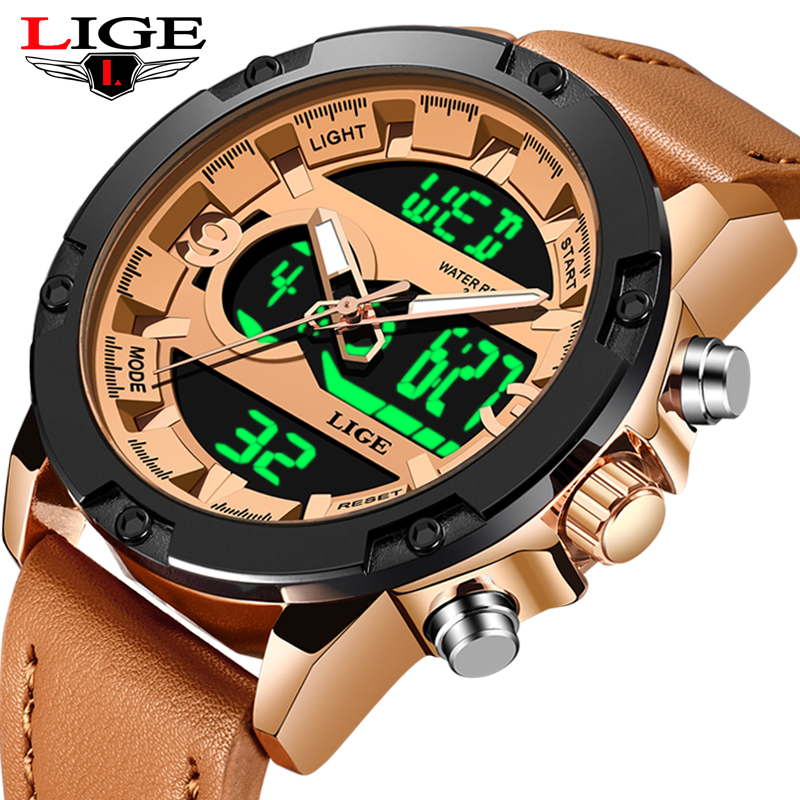 LIGE Mens Watches Top Luxury Brand Men Military Sport Quartz LED Digital Clock Wristwatch Reloj Hombre+Box