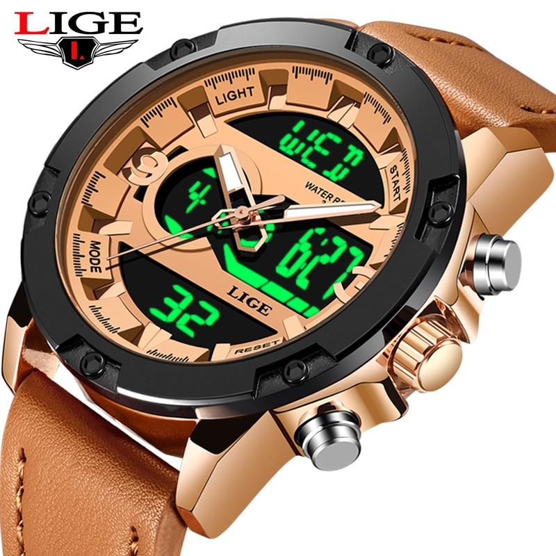 LIGE New Fashion Men's LED Sport Quartz Watch Men Multifunction Waterproof Date Luminous Wrist Watches Men Clock Horloges Mannen