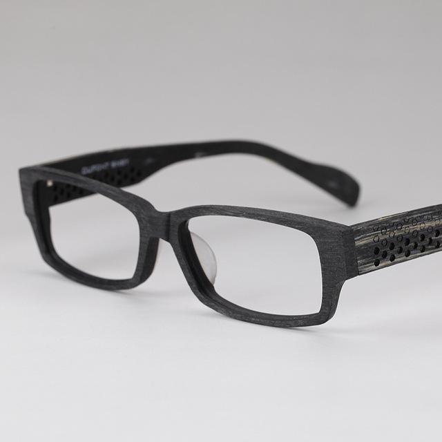 Asuntos de negocios Hombre Restaurar Maneras Antiguas Gafas de Imitar Madera Material Corrugado Óptica Gafas Hombre Afeitado Marco de La Decoración