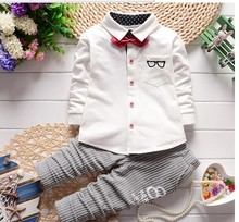 Spring Autum fashion baby boys clothing sets Gentleman boy clothes birthday clothing shirt+ pants outfits suits for boys newborn