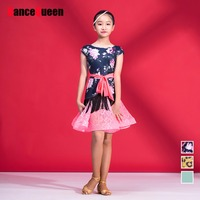 Comfort School Girl Latin Dance Dresses Flower Print Short Sleeve Ice Silk Skirt Summer Children Kids