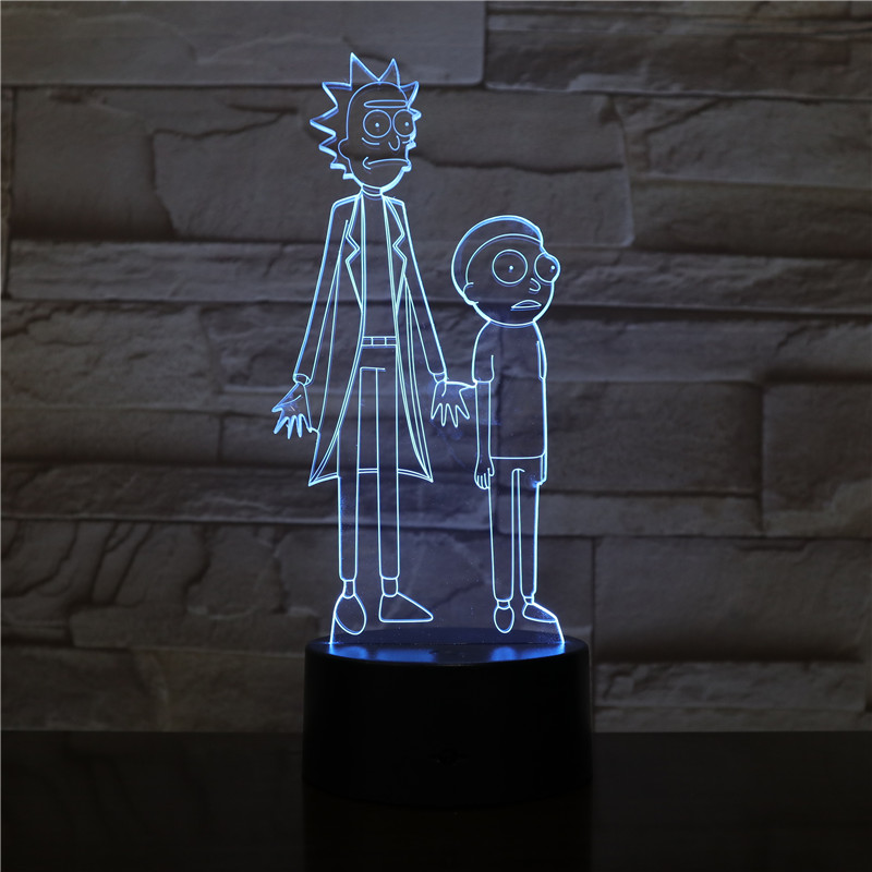 Rick And Morty Table Lamp Bedroom USB Touch Sensor RGB Decoration Nightlight Child Kids Gift Cartoon LED Night Light Gadget