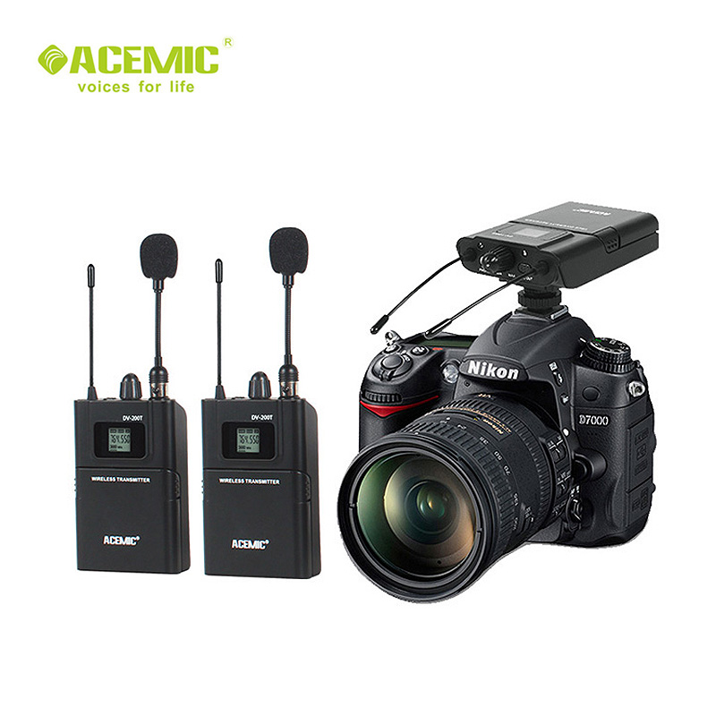 acemic dv 200 dual channel wireless lavalier microphone wireless camera microphone system for. Black Bedroom Furniture Sets. Home Design Ideas