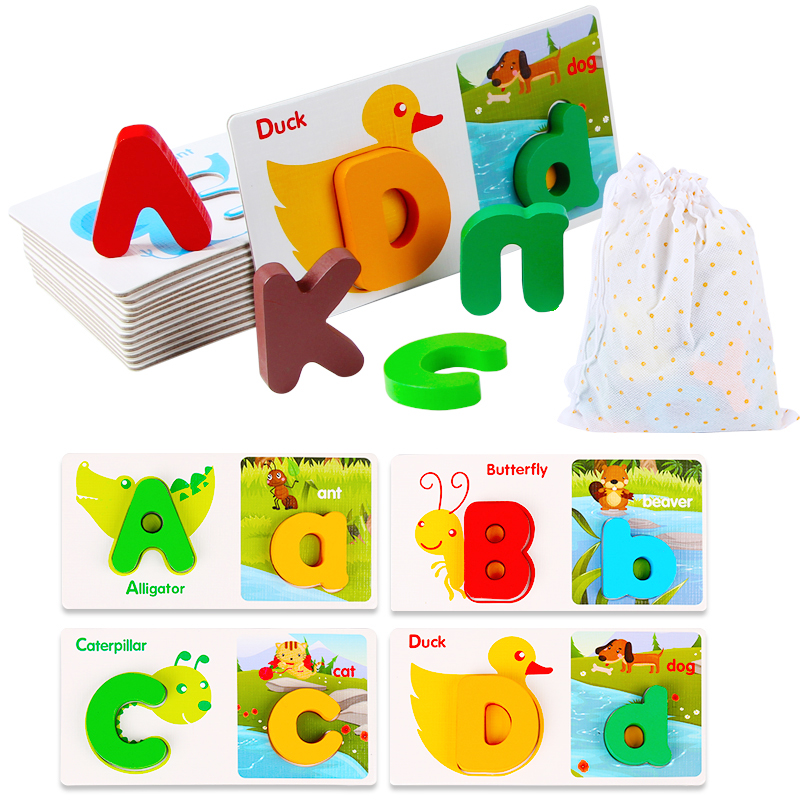 free shipping learning educational toys 26 letters jigsaw puzzle capital letter abc cartoon animals colorful puzzles