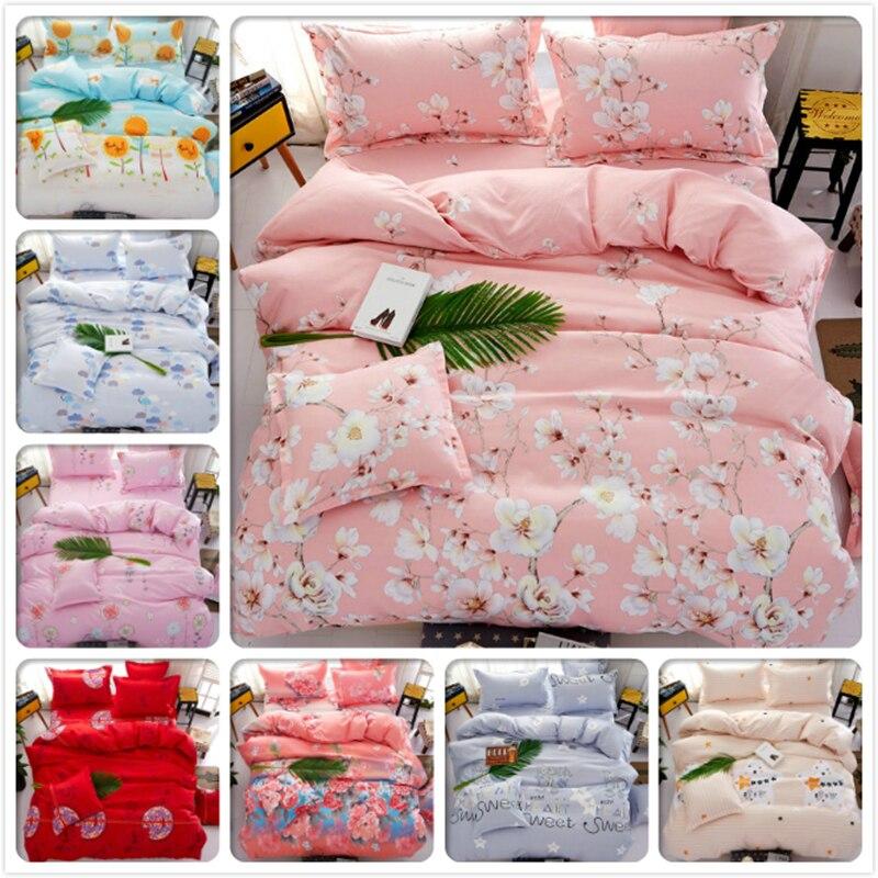 Flower Floral Pink Bedlinens 3/4 pcs Bedding Set Kids Single Double Twin Queen King Size Quilt Duvet Cover 1.5m 1.8m 2m Bedsheet