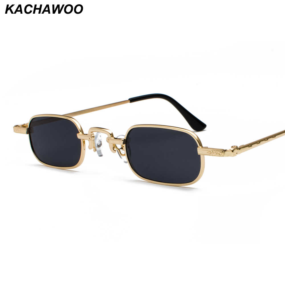 23baae28cd4 Kachawoo wholesale 6pcs retro rectangle sunglasses tiny women metal frame  red yellow narrow glasses sun men