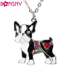 Bonsny Maxi Alloy Enamel Schnauzer Pug Dog Necklace Chain Pendant Collar Novelty Animal Jewelry For Women Girls Charms Gifts Hot