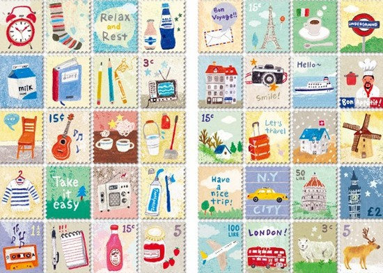 4sheets/lot  New cartoon Life stamp deco Paper Sticker  Kawaii Stationery Stickers for Diary Decoration