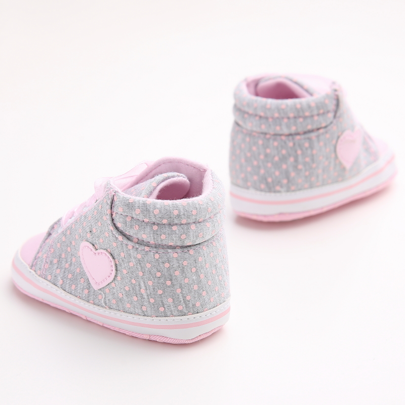 Beautiful New Born Baby Girl Shoes Princess Polka Dots With Flowers Soft Cotton Toddler Crib Infant Little Kid Sole Anti-slip First Walker Elegant In Smell First Walkers