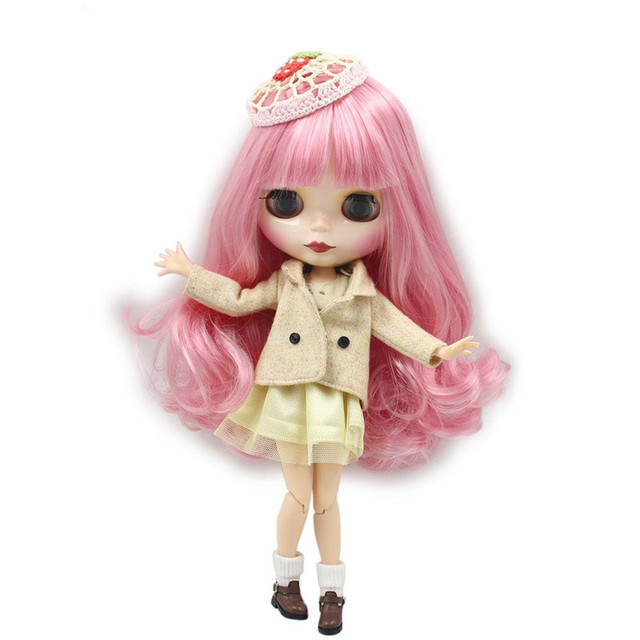 Factory Neo Blythe Doll Pink White Hair Jointed Body 30cm