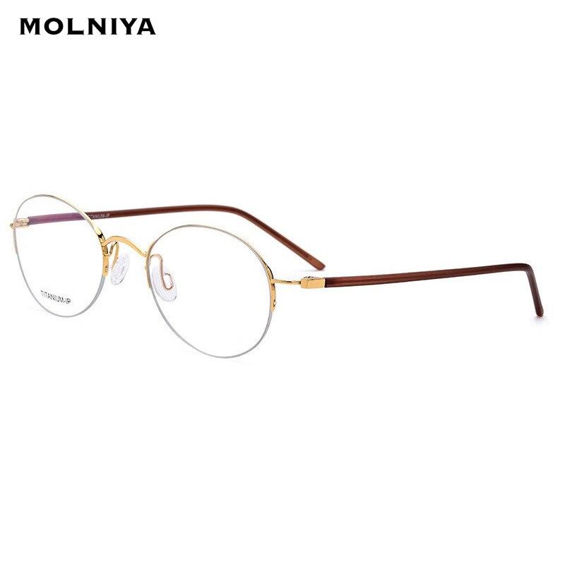 Plaque IP titane pur lunettes cadre femmes ultra-léger Vintage rond marque Designer hommes Prescription optique demi-montures lunettes